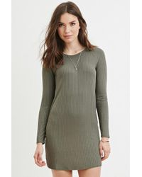 Forever 21 | Green Ribbed Knit Dress | Lyst