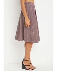 Forever 21 - Purple Contemporary Micro-grid Pleated A-line Skirt - Lyst