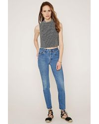 Forever 21 - Gray Contemporary Micro-grid Mock Neck Top - Lyst