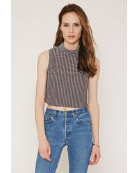Forever 21 | Purple Contemporary Micro-grid Mock Neck Top | Lyst