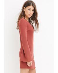 Forever 21 | Brown Contemporary V-neck Shift Dress | Lyst