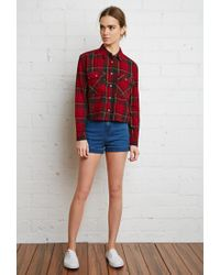 Forever 21 - Green Boxy Plaid Flannel Shirt - Lyst
