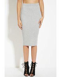Forever 21 | Gray Ribbed Midi Sweater Skirt | Lyst