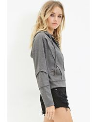 Forever 21 - Gray Zip-up Paneled Hoodie - Lyst