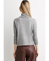 Forever 21 - Gray Contemporary Heathered Turtleneck Sweater - Lyst