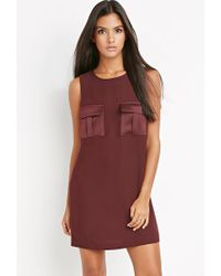 Forever 21 | Purple Contemporary Utility-pocket Shift Dress | Lyst