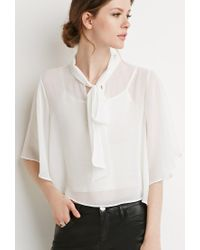 Forever 21 | White Contemporary Self-tie Neck Cropped Blouse | Lyst