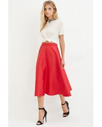 Forever 21 Contemporary A-line Midi Skirt in Red | Lyst