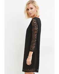 Forever 21 - Black Floral Lace Shift Dress - Lyst
