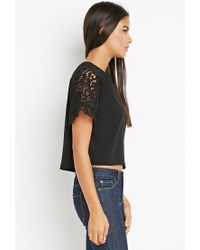 Forever 21 - Black Contemporary Crochet-paneled Raglan Top - Lyst