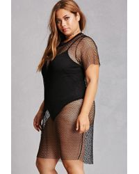 Forever 21 - Black Plus Size Sheer Mesh Top - Lyst