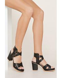 Forever 21 | Black Sbicca Crisscross Sandals | Lyst