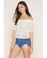 Forever 21 | Natural Lace Off-the-shoulder Top | Lyst