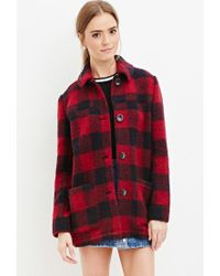 Forever 21 | Red Buffalo Plaid Wool-blend Coat | Lyst