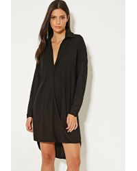 Forever 21 | Black Mlm Collared Surplice Dress | Lyst