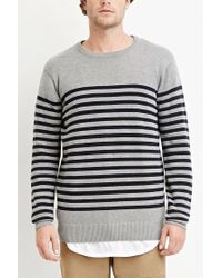 Forever 21 | Gray Striped Cotton Sweater for Men | Lyst