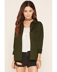 Forever 21 | Green Flap-pocket Cotton Shirt | Lyst