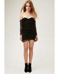 Forever 21 - Black Lovecat Off-the-shoulder Lace Dress - Lyst
