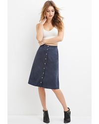 Forever 21 Buttoned Faux Suede Skirt in Blue | Lyst