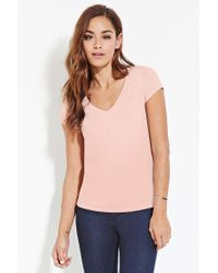 Forever 21   Pink Classic V-neck Tee   Lyst