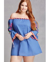 Forever 21 - Blue Velzera Off-the-shoulder Tunic - Lyst