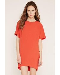 Forever 21 - Red Contemporary Vented-back Shift Dress - Lyst
