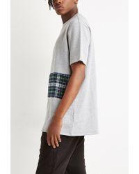 Forever 21 | Gray Oversized Plaid Panel Sweatshirt for Men | Lyst