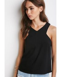 Forever 21 - Black Tulip-back Textured Top - Lyst