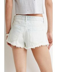 Forever 21 - Blue Frayed Denim Shorts - Lyst
