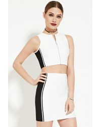 Forever 21 | White Colorblocked Crop Top | Lyst