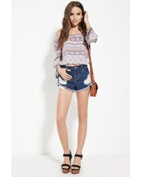 Forever 21 - Purple Ornate-striped Print Top - Lyst