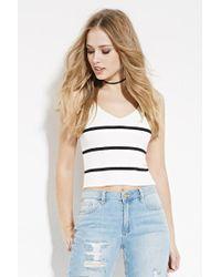 Forever 21 | White Striped V-neck Sweater Top | Lyst