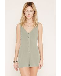 Forever 21   Gray Button-front Crepe Playsuit   Lyst