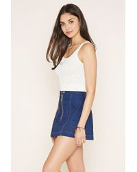 Forever 21 - White Open Knit Crop Top - Lyst