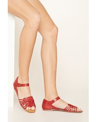 Forever 21 | Red Cutout Faux Leather Sandals | Lyst