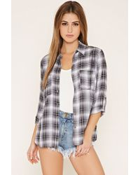 Forever 21 - Gray Plaid Buttoned Shirt - Lyst
