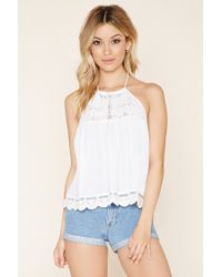 Forever 21 | White Lace-paneled Halter Top | Lyst