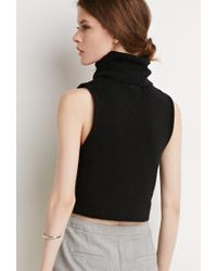 Forever 21 - Black Contemporary Turtle Neck Sweater Vest - Lyst