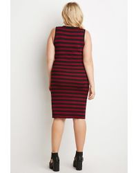 Forever 21 - Purple Plus Size Striped Midi Dress - Lyst