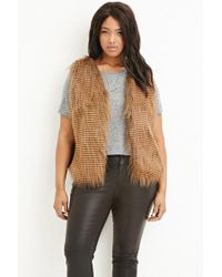 Forever 21 | Brown Plus Size Faux Fur Vest | Lyst