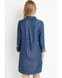 Forever 21 - Blue Chambray Shirt Dress - Lyst