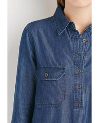 Forever 21 - Blue Chambray Shirt Dress - Lyst