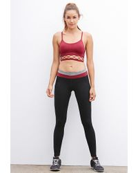 Forever 21 - Red Low Impact - Caged-hem Seamless Sports Bra - Lyst