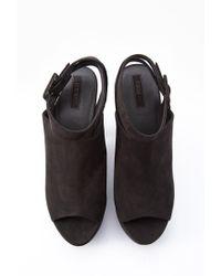 Forever 21 - Black Faux Suede Platform Sandals - Lyst
