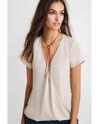 Forever 21 - Brown Lace-paneled Twist Surplice Top - Lyst