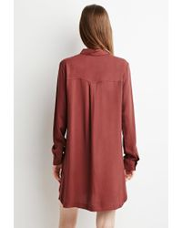 Forever 21 | Brown Zippered Shirt Dress | Lyst