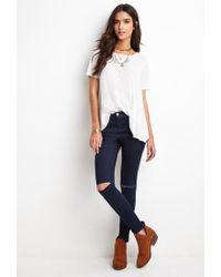 Forever 21   Blue Distressed Skinny Ankle Jeans You've Been Added To The Waitlist   Lyst