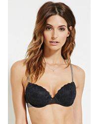 Forever 21 | Black Floral Lace Push-up Bra | Lyst