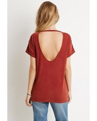 Forever 21 - Brown Cutout-back Tee - Lyst