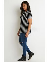 Forever 21 - White Plus Size Contrast-trim Striped Tee - Lyst